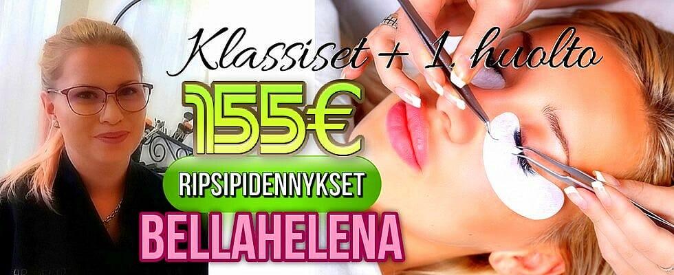 Klassiset Ripsipidennykset 155€ tarjous Kauneushoitola BellaHelena Oulu Janika Pakanen 1 - Hinnasto